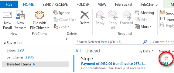 email marked as filed