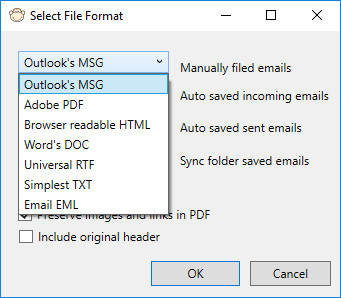 Save email to files