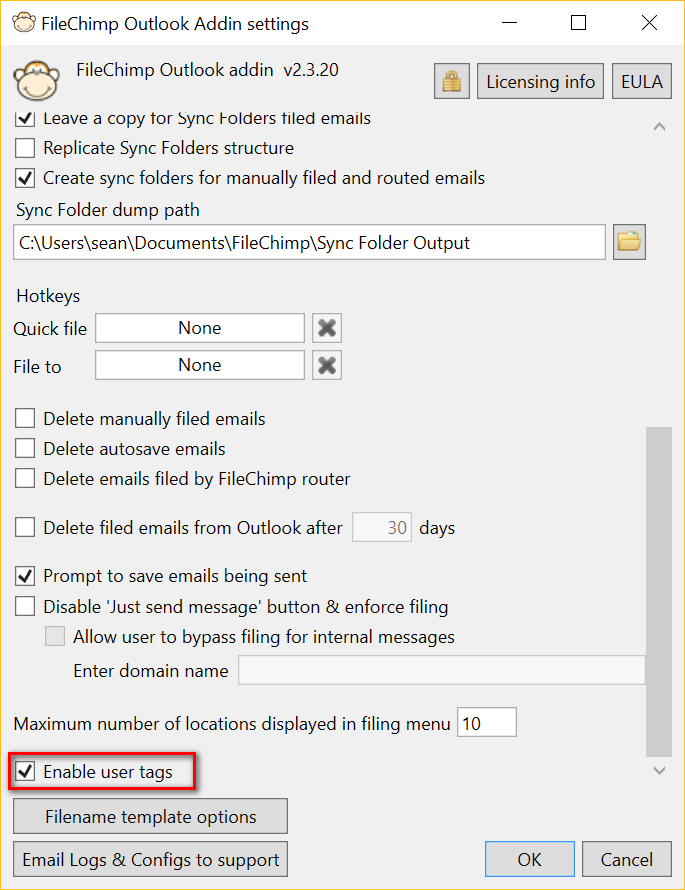 Enable user tags on saved emails